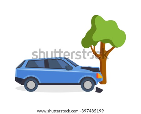 Accident road situation danger car crash and accident road collision safety emergency transport. Accident dangerous speed. Accident road on street damaged automobiles after collision car crash vector. - stock vector