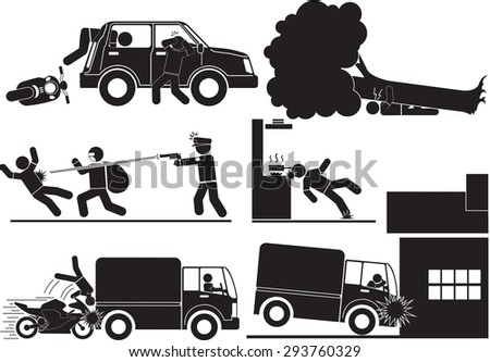 Accidents and robbery icon set