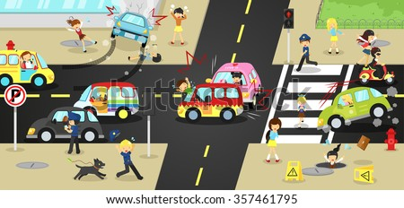 Accidents, injuries, danger and safety caution on traffic road vehicles cause by cars bicycle and careless people on urban street with sign and symbol in cute funny cartoon concept for kids (vector)