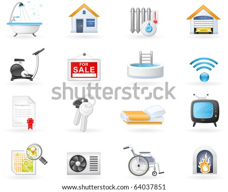 Accommodation amenities icon set - stock vector