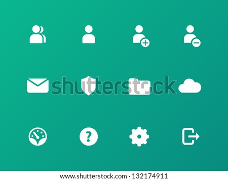 Account icons on green background. Vector. - stock vector