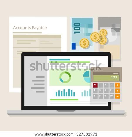 account payable accounting software money calculator application laptop - stock vector