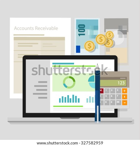 account receivable accounting software money calculator application laptop - stock vector