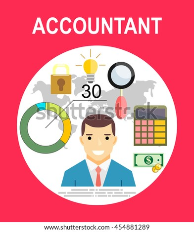 Accountant, businessman. Set icons flat design. Concept of accounting and calculation. Vector illustration. Man working with finances, reports, statistical, analysis, calculation of profit, income. - stock vector