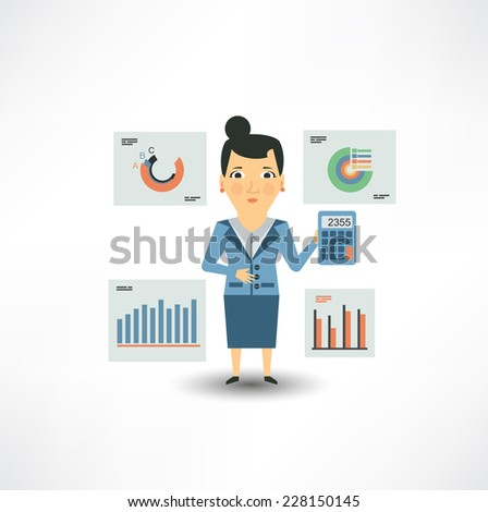 Accountant considers on the calculator of graphs  - stock vector