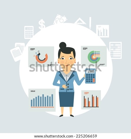 Accountant considers on the calculator of graphs illustration - stock vector