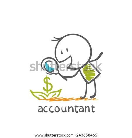accountant dollar grows illustration - stock vector