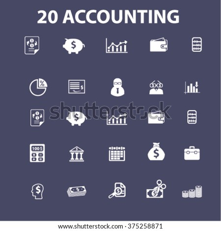 Accountant icons, signs set, vector  - stock vector