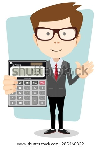 Accountant shows the calculator to work. Stock Vector Illustration. Isolated on white background - stock vector