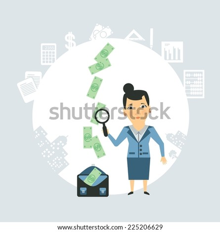 Accountant steals money illustration - stock vector