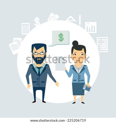 Accountant tells the client illustration - stock vector