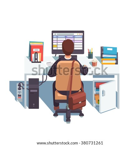 Accountant working in sheets application or planning his day in calendar. Flat style modern vector illustration. - stock vector