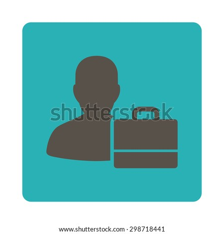 Accounter icon from Commerce Buttons OverColor Set. Vector style is grey and cyan colors, flat square rounded button, white background.