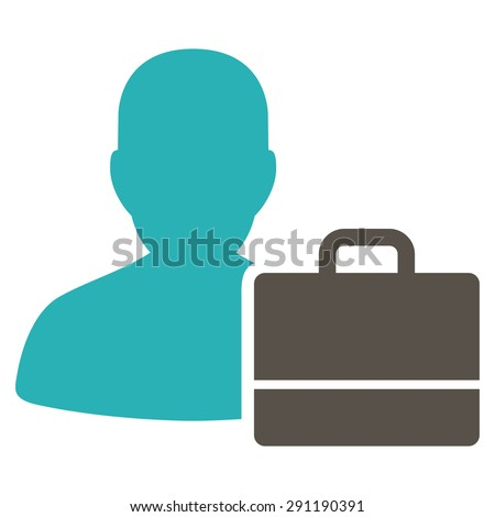 Accounter icon from Commerce Set. Vector style: bicolor flat symbol, grey and cyan colors, rounded angles, white background.