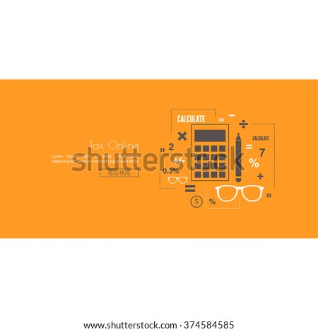 Accounting and Taxes. The concept of counting profit business activities. Bank and stock calculations. Line art. Web and mobile app. Tax online - stock vector