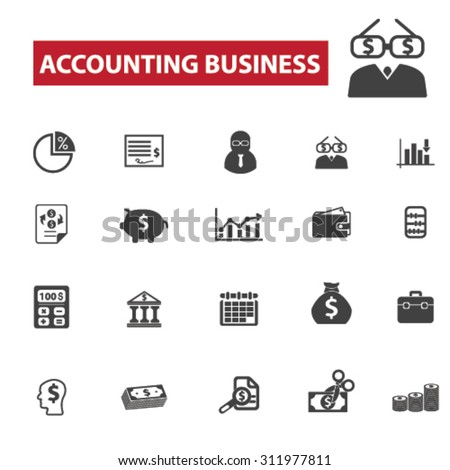 Accounting business concept icons: accountant,  finance,  account,  bookkeeping,  tax,  business,  accounting icons, calculator. Vector set - stock vector