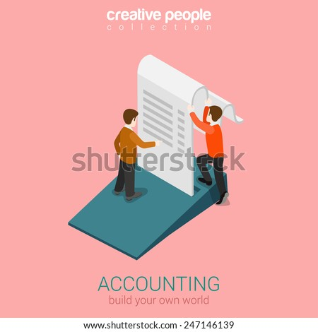 Accounting business finance concept flat 3d web isometric infographic vector. Two man holding big slip fiscal check. Build your own world creative people collection. - stock vector