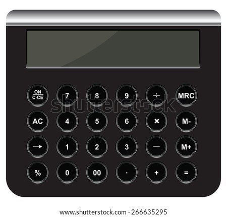 Accounting calculator with round buttons. Vector illustration. - stock vector