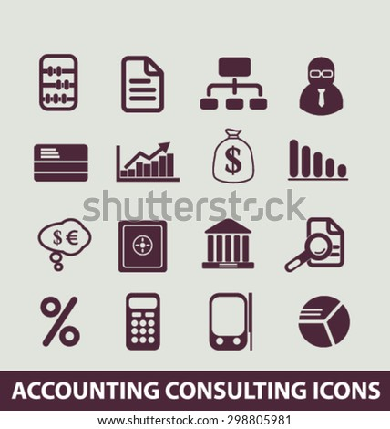 accounting, consulting, services, finance, bank, chart, investment icons, signs, illustrations set, vector - stock vector
