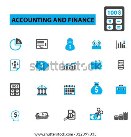 accounting, finance, bookkeeping, tax, business, calculator, investment, credit, wealth, cash, savings, banking icons, signs. Vector illustration set - stock vector