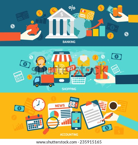 Accounting flat banners set with banking shopping and finance elements isolated vector illustration. - stock vector