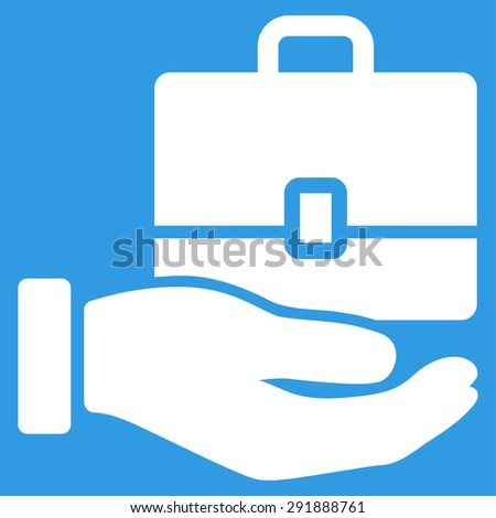 Accounting icon from Commerce Set. Vector style: flat symbol, white color, rounded angles, blue background. - stock vector