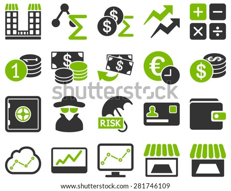 Accounting service and trade business icon set. These flat bicolor symbols use eco green and gray colors. Vector images are isolated on a white background. Angles are rounded. - stock vector