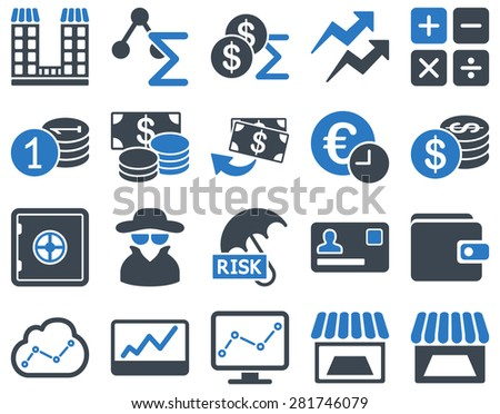 Accounting service and trade business icon set. These flat bicolor symbols use smooth blue colors. Vector images are isolated on a white background. Angles are rounded. - stock vector