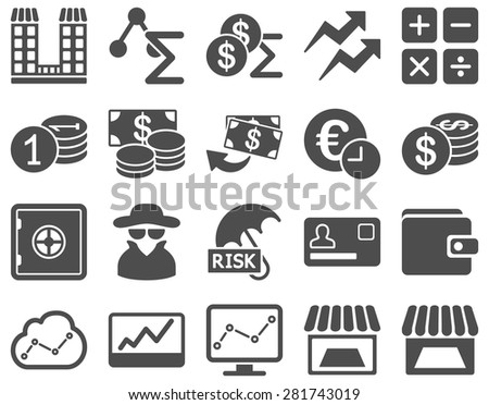 Accounting service and trade business icon set. These flat symbols use gray color. Vector images are isolated on a white background. Angles are rounded. - stock vector