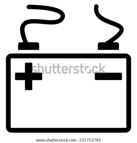 Accumulator vector icon. Style is flat symbol, black color, rounded angles, white background.