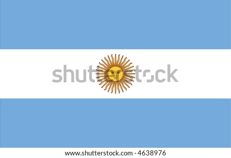 Accurate flag of Argentina in terms of size, placement of elements, colours, and scale - stock vector