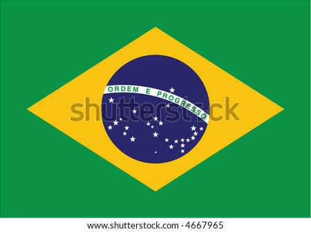 Accurate flag of Brazil in terms of colours, size, proportion, and placement of elements - stock vector