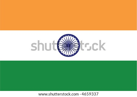 Accurate flag of India in terms of colours, size, proportion, and placement of elements. - stock vector