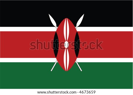 Accurate flag of Kenya in terms of colours, size, proportion, and placement of elements - stock vector