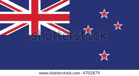 Accurate flag of New Zealand in terms of colours, size, proportion, and placement of elements - stock vector