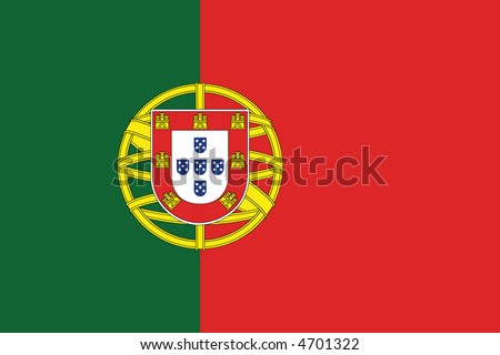 Accurate flag of Portugal in terms of colours, size, proportion, and placement of elements - stock vector