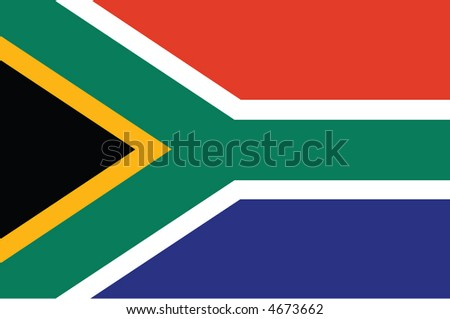 Accurate flag of South Africa in terms of colours, size, proportion, and placement of elements - stock vector