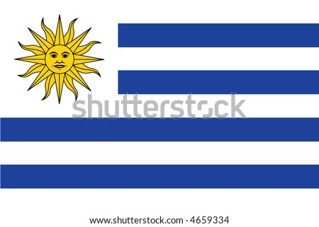 Accurate flag of Uruguay in terms of colours, size, proportion, and placement of elements. - stock vector