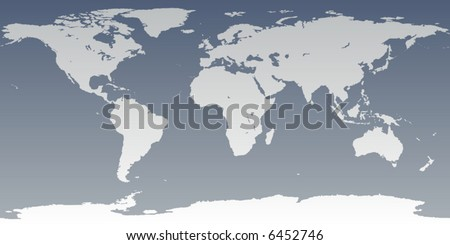 Accurate map of world. Includes Antarctica. Maps to 3d sphere to make a globe - accurate latitude longitude.  islands - Hawaii, Aleutians, Galapagos, Maldives, Canary. Lakes of USA, Africa, Russia. - stock vector