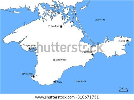 Accurate Vector Map Crimean Peninsula Major Stock Vector 310671731 ...