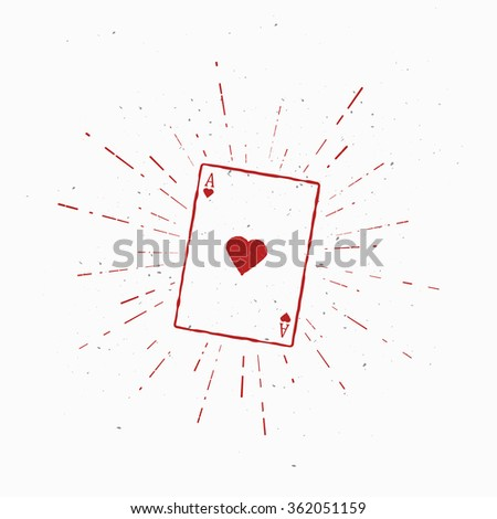 Ace of Hearts. Vintage Vector Illustration. Template for print, t-shirt, cover or other art works. - stock vector