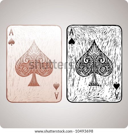 ace of spades card in engrave style. Color and black version allowed! - stock vector