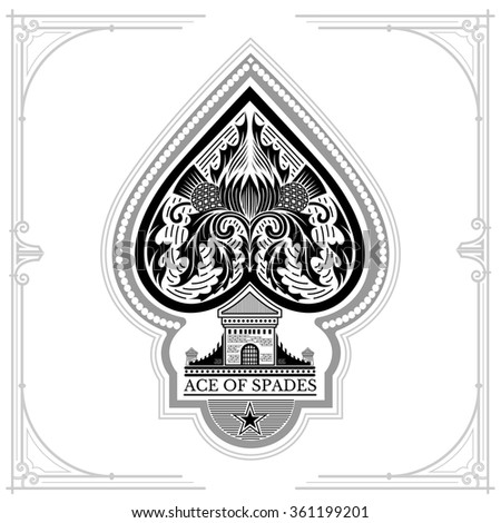 Ace of spades castle and thistle pattern inside. Black on white - stock vector