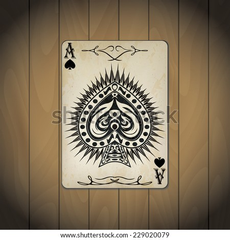 Ace of spades poker card old look on wood background - stock vector