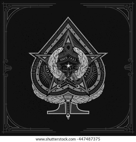 Ace of spades with big star in center and two torch cross inside. Sea vintage label on blackboard - stock vector