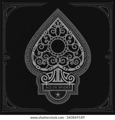 Ace of spades with forging curl pattern inside. White on black - stock vector