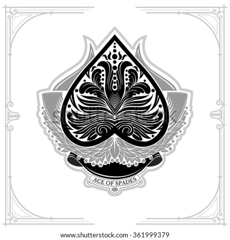 Ace of spades with laurel wreath and floral pattern inside. Black on white - stock vector