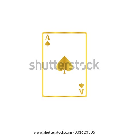 ace - Playing card  - gold vector icon - stock vector
