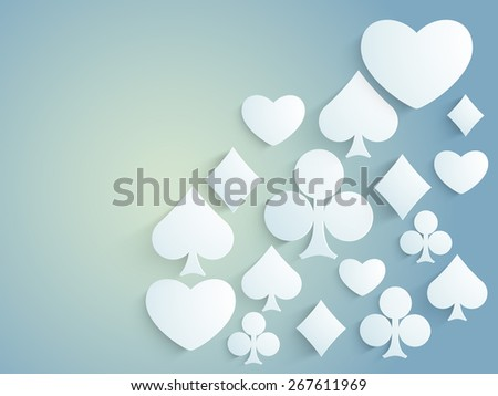 Ace playing card symbols on shiny blue background for Casino concept. - stock vector
