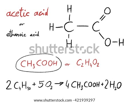 Acetic Acid Ethanoic Acid Organic Chemistry Stock Vector 2018